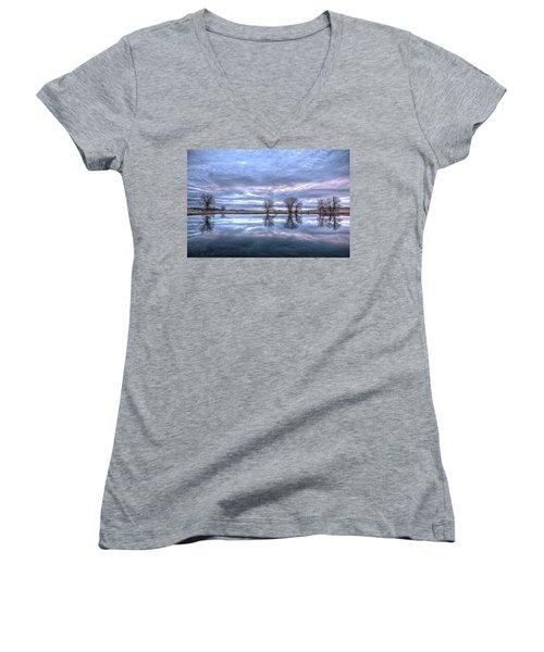 Reflections Women's V-Neck T-Shirt (Junior Cut) by Fiskr Larsen