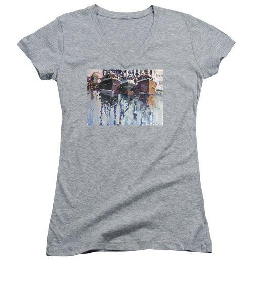 Women's V-Neck T-Shirt (Junior Cut) featuring the painting Reflections II by Robert Joyner