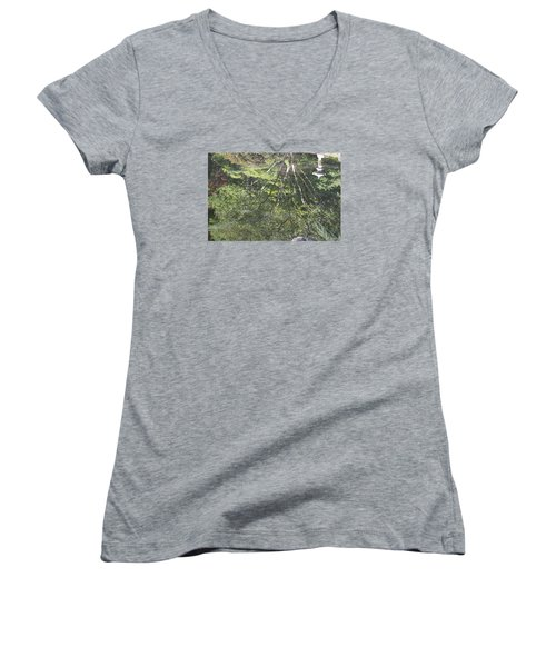 Reflections In The Japanese Gardens Women's V-Neck T-Shirt (Junior Cut) by Linda Geiger