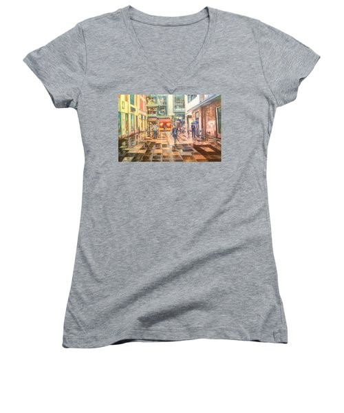 Reflections In The Pavement, Brown Street, Manchester Women's V-Neck T-Shirt