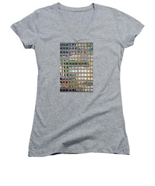 Reflections In Windows Of Office Building Women's V-Neck T-Shirt