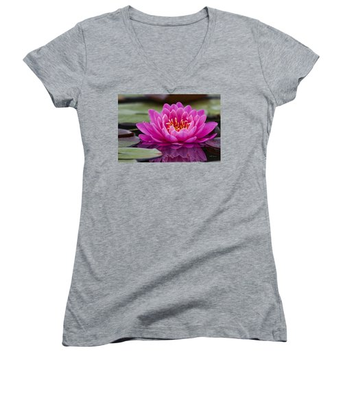 Reflections Of A Waterlily Women's V-Neck T-Shirt