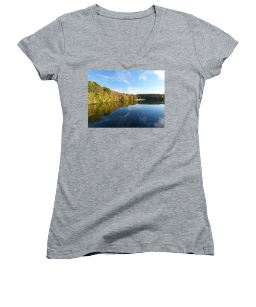 Women's V-Neck T-Shirt (Junior Cut) featuring the photograph Reflections Of Autumn by Donald C Morgan
