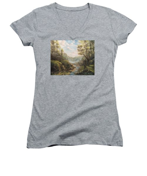 Reflections Of Calm  Women's V-Neck T-Shirt