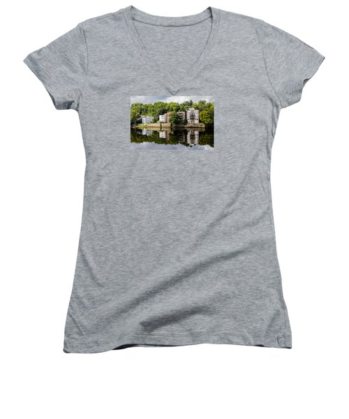 Women's V-Neck T-Shirt (Junior Cut) featuring the photograph Reflections Of Haverhill On The Merrimack River by Betty Denise