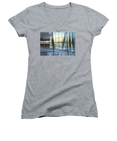 Women's V-Neck T-Shirt featuring the photograph Reflections Of Oslo by David Chandler