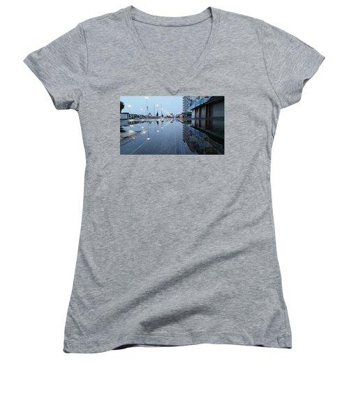 Reflections Of The Boardwalk Women's V-Neck T-Shirt (Junior Cut) by Robert Banach