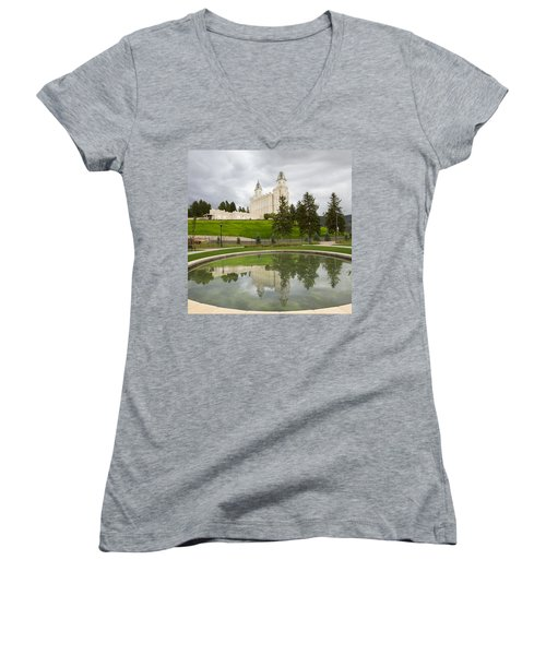 Reflections Of The Manti Temple At Pioneer Heritage Gardens Women's V-Neck
