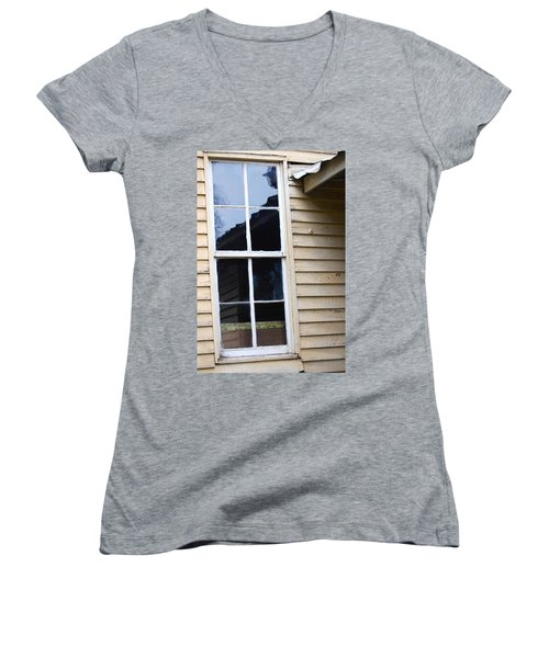 Women's V-Neck T-Shirt (Junior Cut) featuring the photograph Reflections Of The Past by Debbie Karnes
