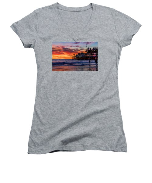 Reflections Of The Pier Women's V-Neck