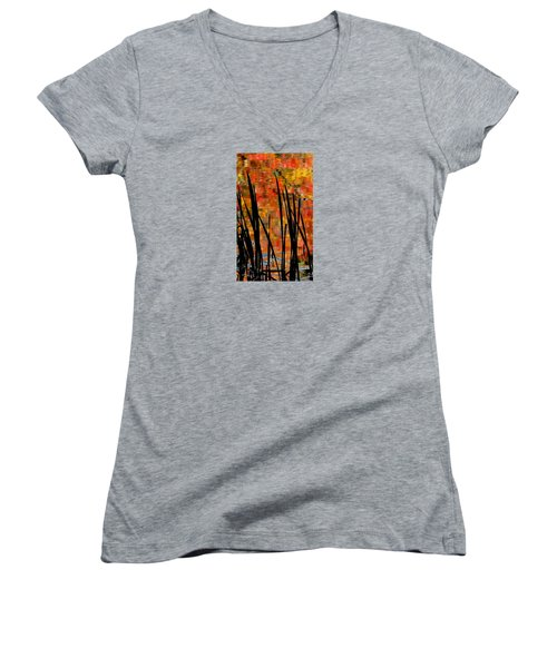 Women's V-Neck T-Shirt (Junior Cut) featuring the photograph Reflections On Infinity by Angela Davies