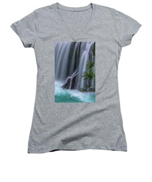 Refreshing Waterfall Women's V-Neck T-Shirt (Junior Cut) by Ulrich Burkhalter