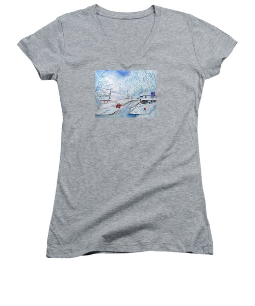 Refuge From The Storm Women's V-Neck T-Shirt (Junior Cut) by Christine Lathrop