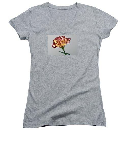 Regal Carnation Women's V-Neck T-Shirt (Junior Cut) by Terence Davis
