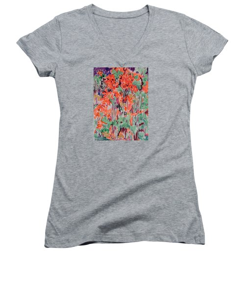 Regal Red Fall Foliage Women's V-Neck T-Shirt (Junior Cut) by Esther Newman-Cohen