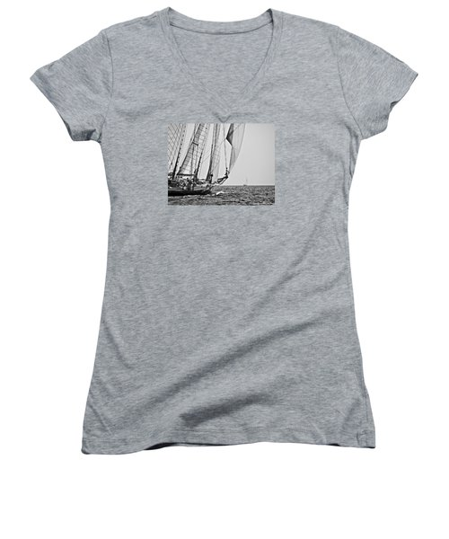 Regatta Heroes In A Calm Mediterranean Sea In Black And White Women's V-Neck (Athletic Fit)