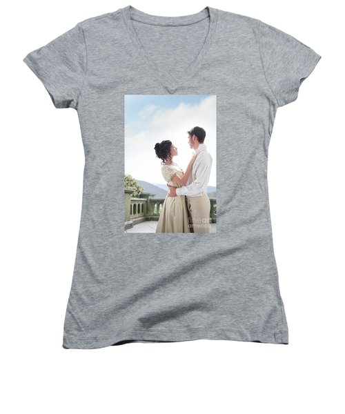 Regency Couple Embracing On The Terrace Women's V-Neck T-Shirt (Junior Cut) by Lee Avison