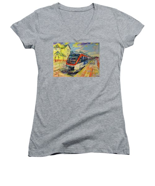 Regiobahn Mettmann Women's V-Neck T-Shirt (Junior Cut) by Koro Arandia