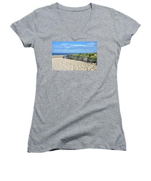 Women's V-Neck T-Shirt (Junior Cut) featuring the photograph Rehoboth Delaware by Brendan Reals
