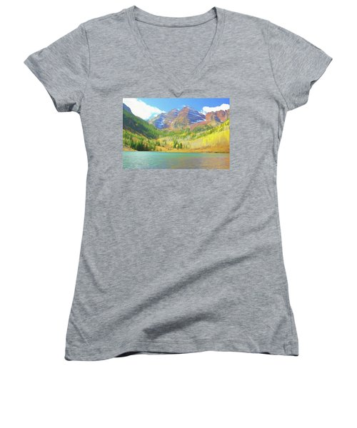 Women's V-Neck T-Shirt (Junior Cut) featuring the photograph The Maroon Bells Reimagined 1 by Eric Glaser