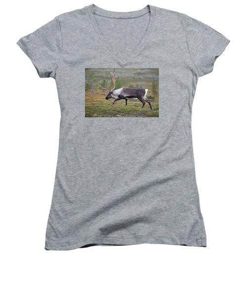 Reindeer Women's V-Neck T-Shirt (Junior Cut) by Aivar Mikko