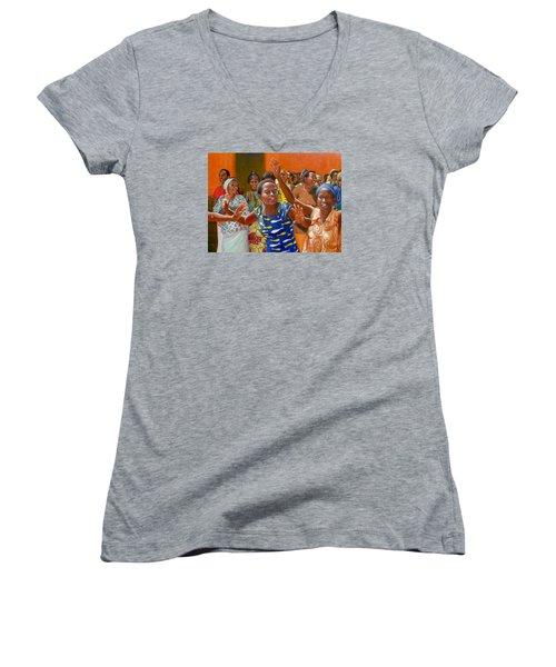Rejoice Women's V-Neck T-Shirt (Junior Cut) by Donelli  DiMaria
