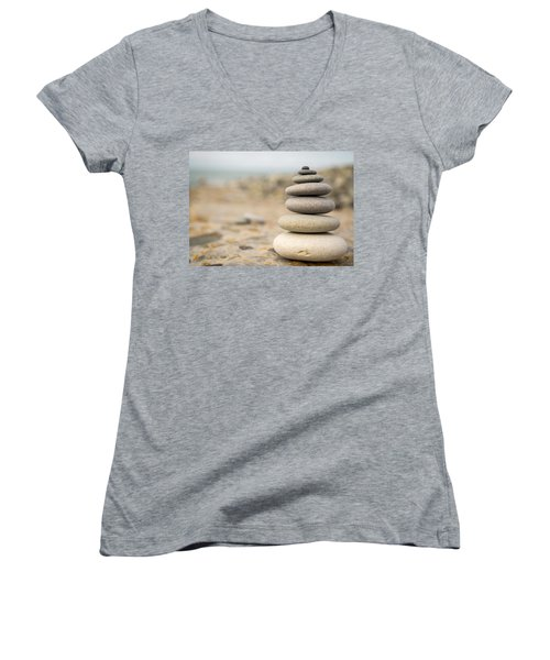 Women's V-Neck T-Shirt (Junior Cut) featuring the photograph Relaxation Stones by John Williams