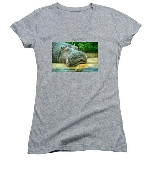 Relaxing Hippo Women's V-Neck