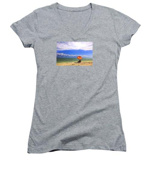 Relaxing On Sanibel Women's V-Neck T-Shirt