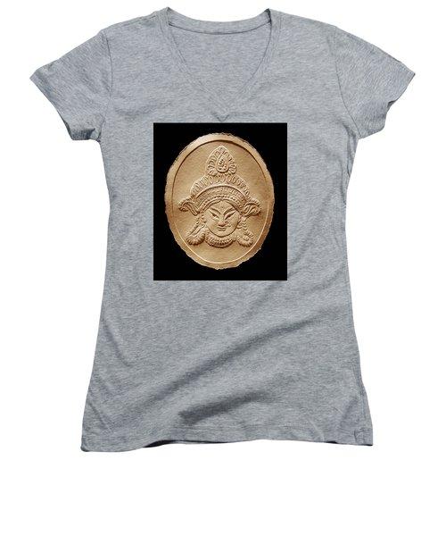 Relief Drawing Of Goddess Durga Devi  Women's V-Neck T-Shirt (Junior Cut) by Suhas Tavkar