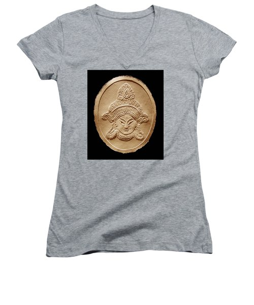 Relief Drawing Of Goddess Durga Devi  Women's V-Neck T-Shirt