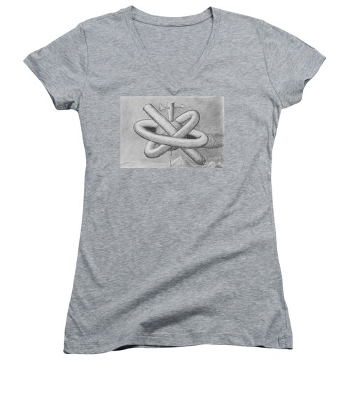Women's V-Neck T-Shirt featuring the drawing Religion Of Science by Yulia Kazansky