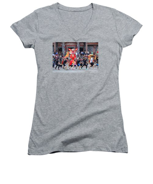 Women's V-Neck T-Shirt (Junior Cut) featuring the photograph Religious Martial Arts Performance In Taiwan by Yali Shi