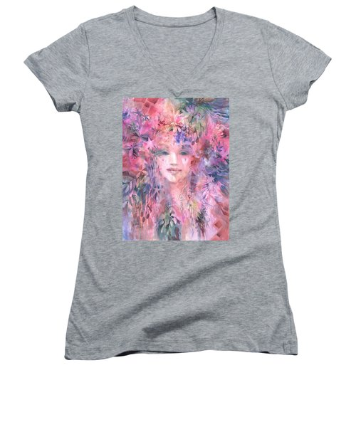 Women's V-Neck featuring the painting Relish The Moment by Carolyn Utigard Thomas