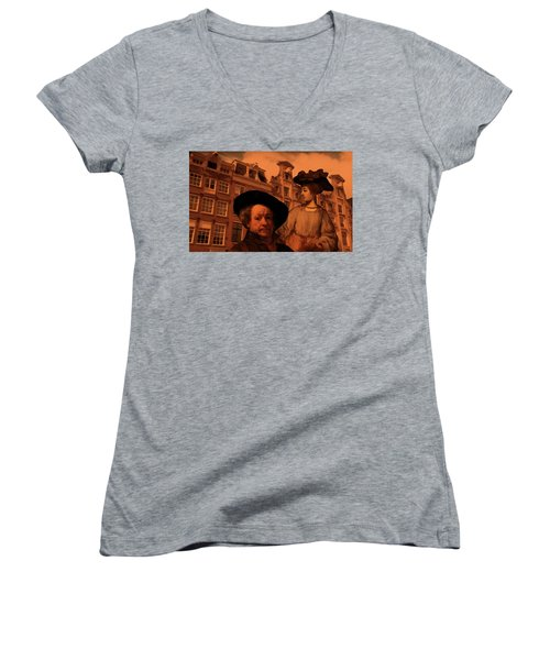 Rembrandt Study In Orange Women's V-Neck