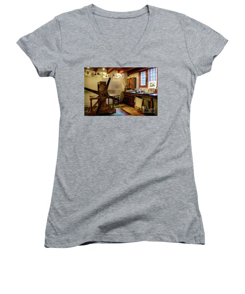 Women's V-Neck T-Shirt (Junior Cut) featuring the photograph Rembrandt's Former Graphic Workshop In Amsterdam by RicardMN Photography