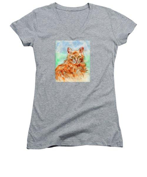 Remembering Butterscotch Women's V-Neck T-Shirt (Junior Cut) by P J Lewis