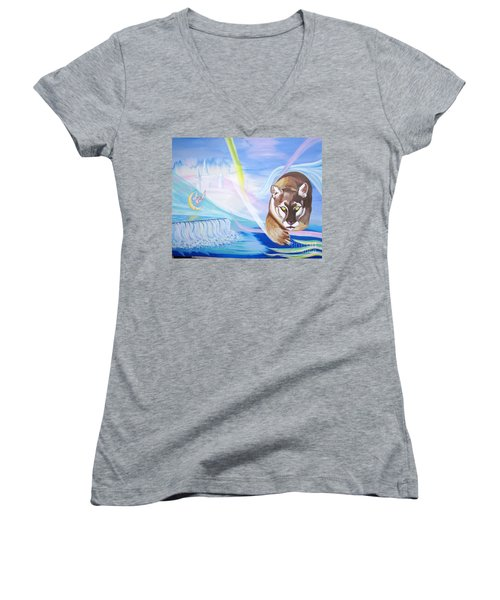 Women's V-Neck T-Shirt (Junior Cut) featuring the painting Remembering Childhood Dreams by Phyllis Kaltenbach