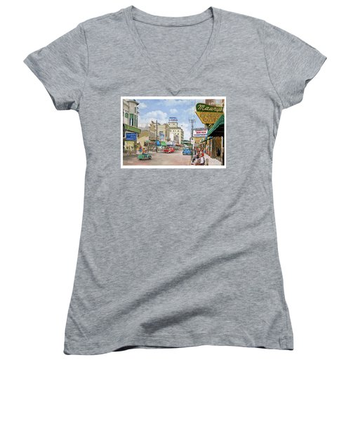 Remembering Duval St. Women's V-Neck T-Shirt (Junior Cut) by Bob George