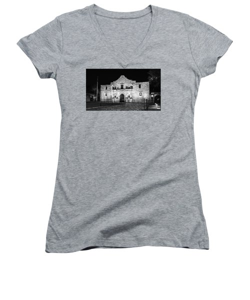 Remembering The Alamo - Black And White Women's V-Neck T-Shirt (Junior Cut) by Stephen Stookey