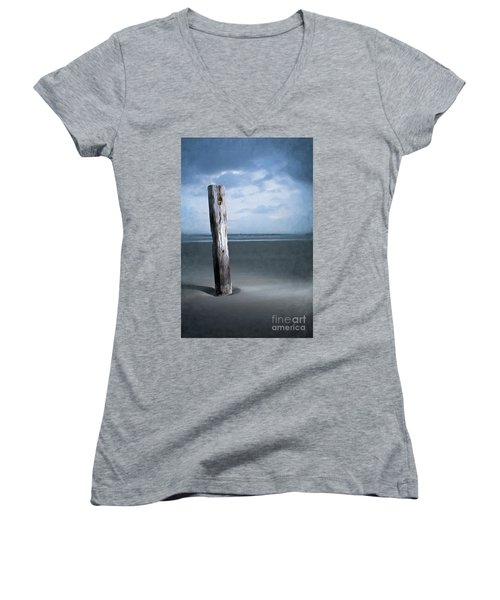Remnant Of The Past On Outer Banks Ap Women's V-Neck T-Shirt (Junior Cut) by Dan Carmichael