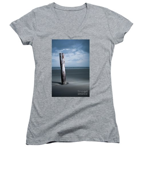 Remnant Of The Past On Outer Banks Women's V-Neck T-Shirt (Junior Cut) by Dan Carmichael