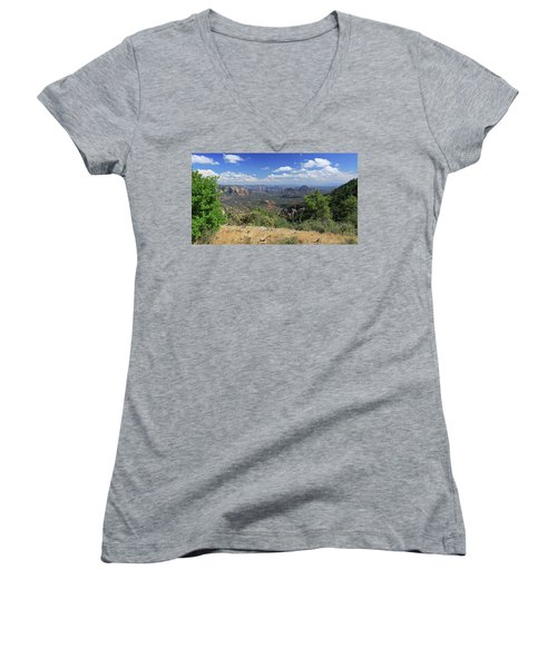 Women's V-Neck T-Shirt (Junior Cut) featuring the photograph Remote Vista by Gary Kaylor
