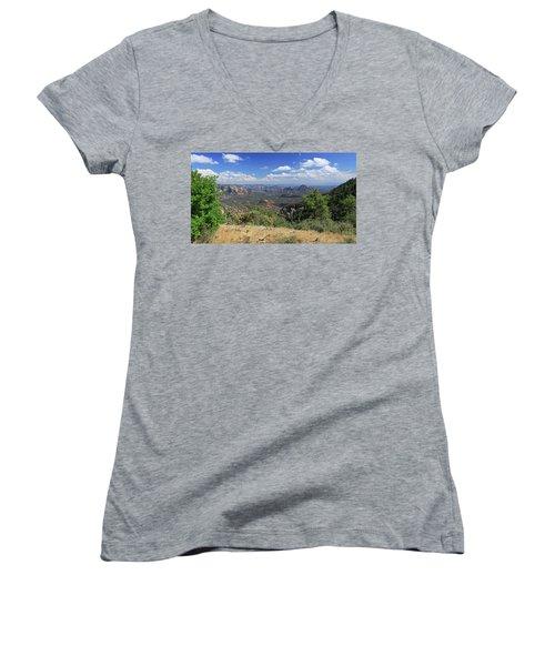 Remote Vista Women's V-Neck T-Shirt (Junior Cut) by Gary Kaylor