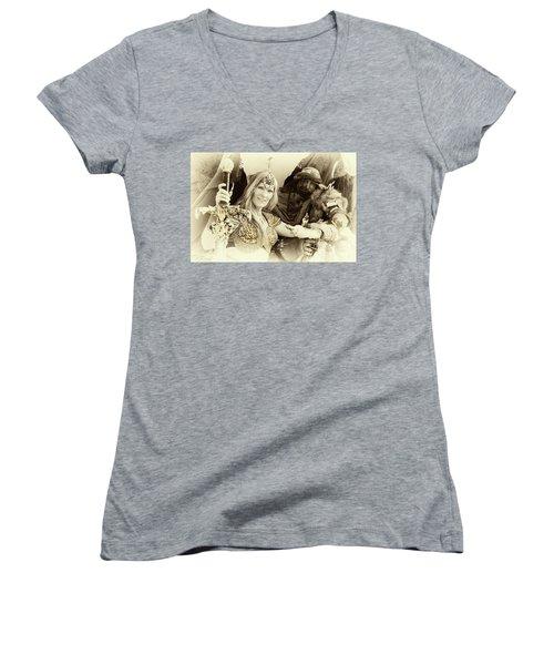 Women's V-Neck T-Shirt (Junior Cut) featuring the photograph Renaissance Festival Barbarians by Bob Christopher