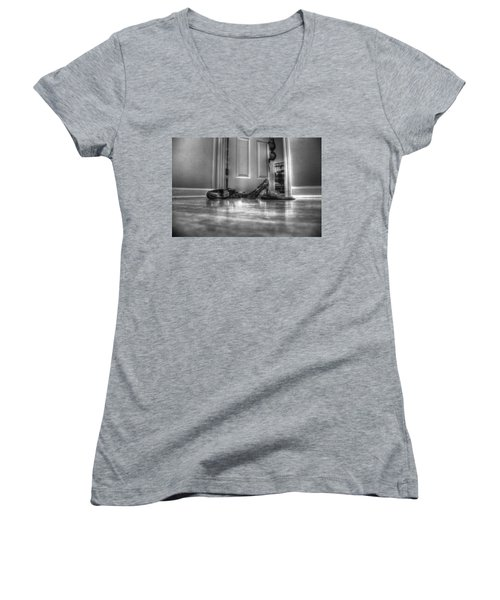 Women's V-Neck T-Shirt (Junior Cut) featuring the photograph Rendezvous Do Not Disturb 05 Bw by Andy Lawless
