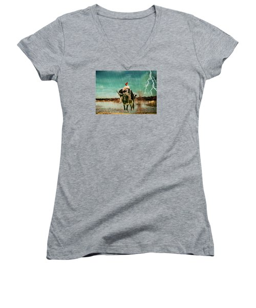 Women's V-Neck T-Shirt (Junior Cut) featuring the photograph Rescue by James Bethanis