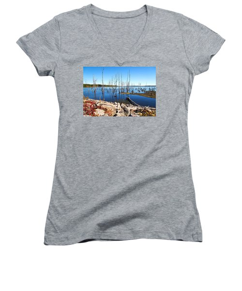 Women's V-Neck featuring the photograph Reservoir by Angel Cher