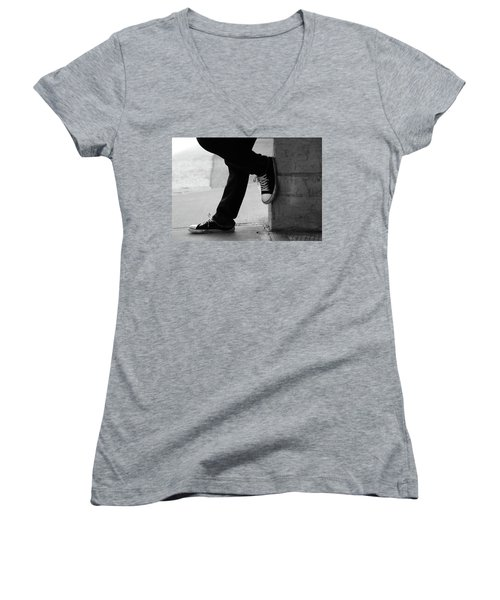 Women's V-Neck T-Shirt (Junior Cut) featuring the photograph Rest Then Tackle  by Empty Wall