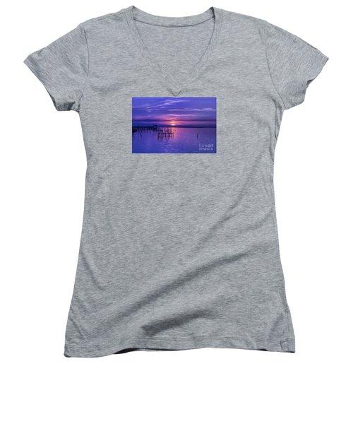 Rest Well World Women's V-Neck T-Shirt (Junior Cut) by Roberta Byram